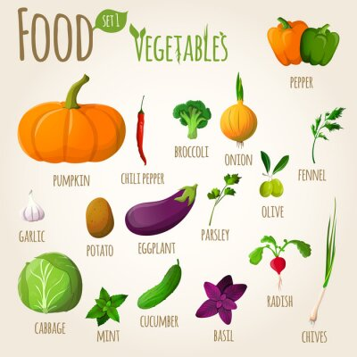 Poster Essen Gemüse eingestellt