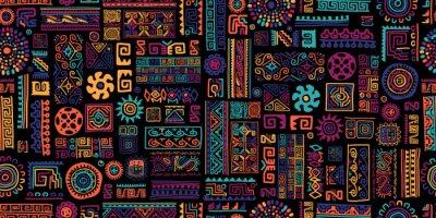 Poster Ethnic handmade ornament, seamless pattern