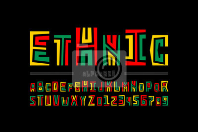 Poster Ethnic style font design, alphabet letters and numbers