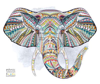 Poster Ethnischer gemusterter Kopf des Elefanten auf dem Grangehintergrund / afrikanisches / indisches / Totem / Tätowierungsentwurf. Gebrauch für Druck, Plakate, T-Shirts.