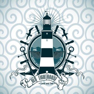 Poster Etikett mit einem Bild des Leuchtturms