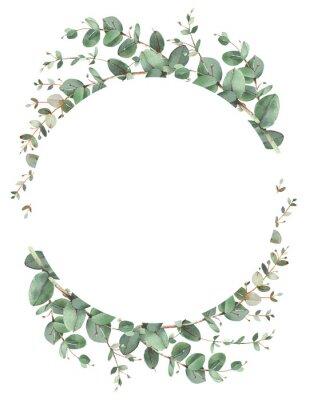 Poster Eucalyptus circle frame composition