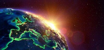 Poster Europa Bei Golden Sunrise - Blick Vom Weltraum