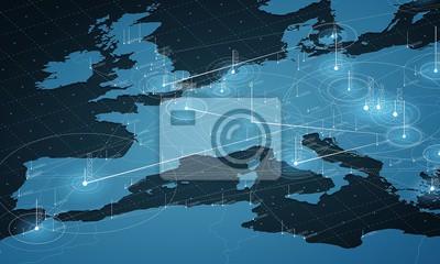Poster Europa blaue Karte große Datenvisualisierung. Futuristische Karte Infografik. Informationsästhetik Visuelle Datenkomplexität. Komplexe europaweite grafikvisualisierung Abstraktdaten auf Kartengrafik.