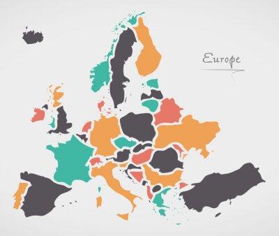 Poster Europa Festland Karte mit Staaten und modernen runden Formen