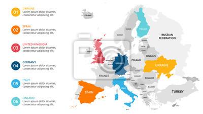 Poster Europa Karte Infografik. Dia-Präsentation. Globales Business-Marketing-Konzept. Farbe Land. Weltverkehrsdaten. Ökonomische Statistikvorlage.