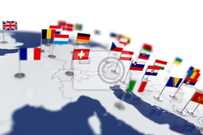 Poster Europa-Karte mit Ländern Flaggen