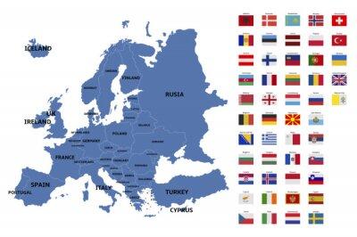 Poster Europa-Karte und Flaggen