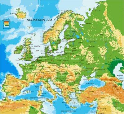 Poster Europa - physische Karte