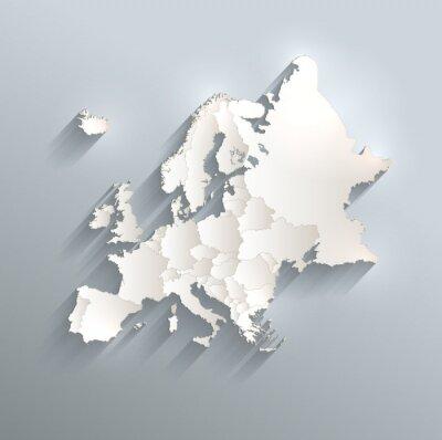 Poster Europa politische Karte Flagge 3D Vektor einzelnen Staaten getrennt
