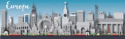 Poster Europa Skyline Silhouette mit verschiedenen Wahrzeichen. Einige Elemente haben Transparenz-Modus anders als normal