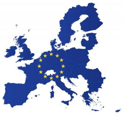 Poster Europa union-Karte mit Fahne
