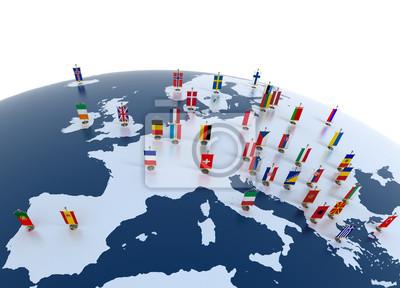 Poster europäischen Ländern - Kontinent mit Fähnchen gekennzeichnet