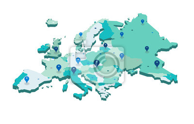 Poster Europe 3d map with gps pins isolated on white background - Vector
