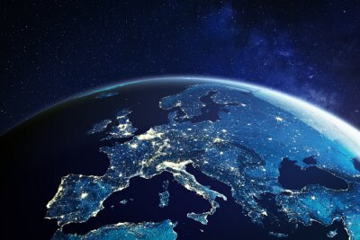 Poster Europe from space at night with city lights showing European cities in Germany, France, Spain, Italy and United Kingdom (UK), global overview, 3d rendering of planet Earth, elements from NASA