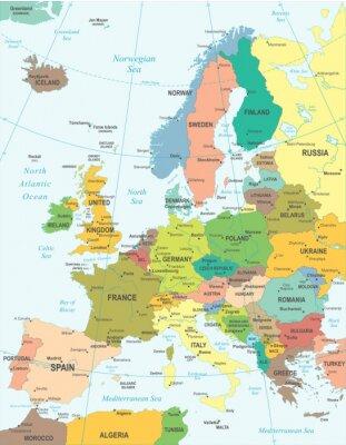 Poster Europe map - sehr detaillierte Vektor-Illustration.