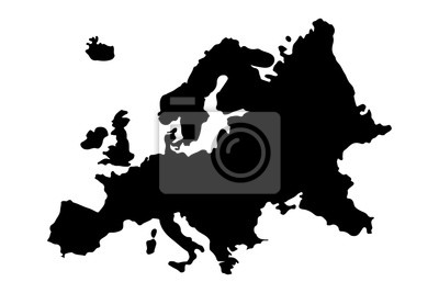 Poster Europe Map Silhouette Vector illustration