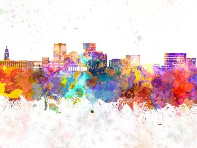 Evansville skyline in watercolor background