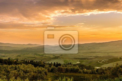 Evening view at the Tuscany countryside from Volterra in Italy