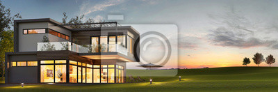 Poster Evening view of a luxurious modern house