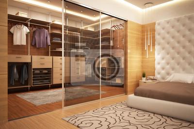 Exklusive kleiderschrank im schlafzimmer wandposter • poster ...