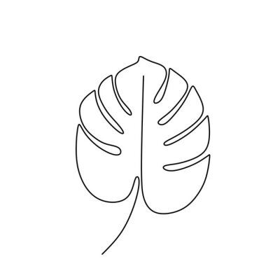 Poster Exotic monstera continuous one line drawing summer tropical leaf hand drawn on white background minimalist design
