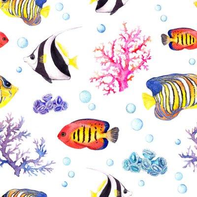 Poster Exotische Fische, See Korallen und Wasser Baubles. Wiederholungsmuster. Aquarell