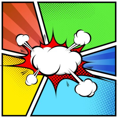 Poster Explosion cloud abstract comic book style frame page template