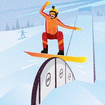 Poster Extreme Sportler bewegt sich vom Berg auf einem Snowboard