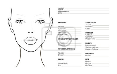 Poster Face chart Makeup Artist Blank. Template. Vector illustration. Beauty face chart. Beautiful woman with open eyes. Face chart Makeup Artist Blank Template. Vector illustration.