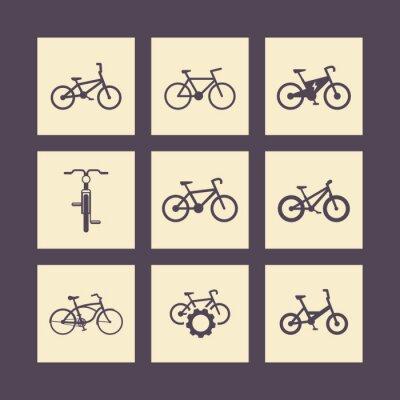 Poster fahrrad, radfahren, Fahrrad, elektrisches Fahrrad, Fett-bike quadratische Symbole