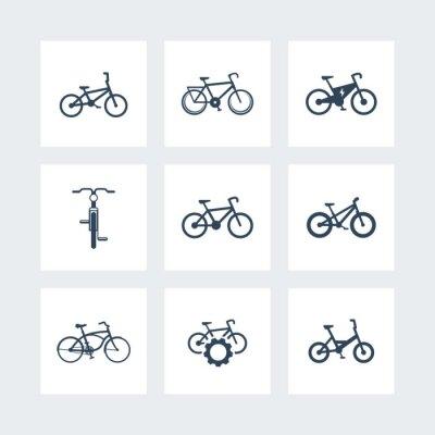 Poster Fahrrad, Radfahren, Fahrrad, Elektro-Bike, Fett-Bike einfache Symbole, Vektor-Illustration