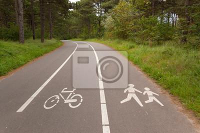 Fahrradtouren und Wanderwege Spur im Wald. Outdoor-Sport, Fitness