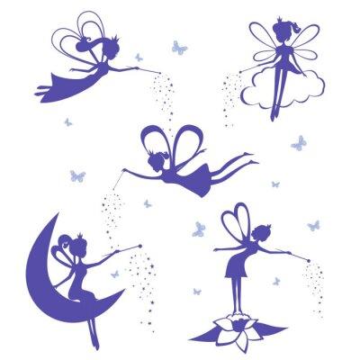 Poster Fairy Silhouette Vektor-Set.