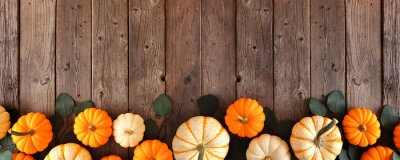 Poster Fall bottom border of pumpkins and eucalyptus leaves against a rustic dark wood banner background. Top view with copy space.