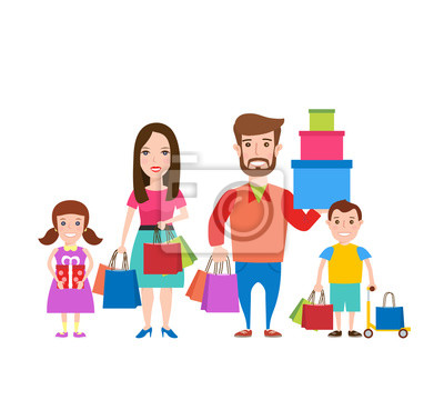 Poster Familie shopping.Happy Familie mit Einkaufstüten und Geschenk-Boxen