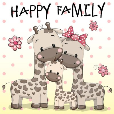 Poster Familie von drei Giraffen