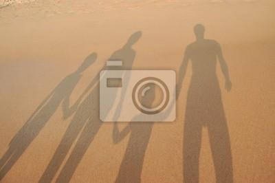 Familien Schatten am Strand Sand