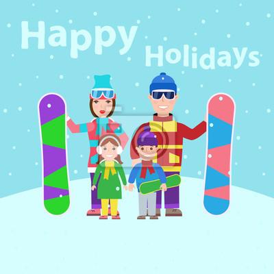 Poster Familienurlaub.Familie mit Snowboard. schöne Ferien