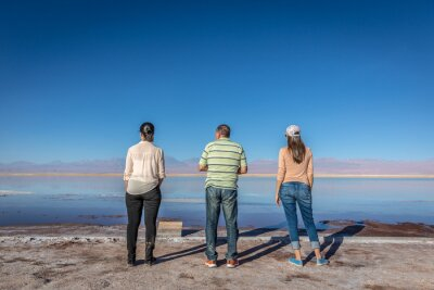 Family at the Salar of Atacama in Chile