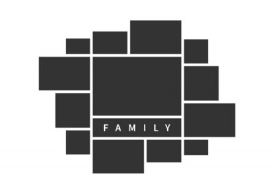 Poster Family photo collage frames template for interior design. Vector collage layout for photo montage.