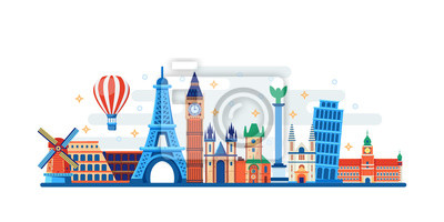 Poster Famous travel and touristic landmarks. Vector flat illustration. World travel concept. Horizontal banner, poster design