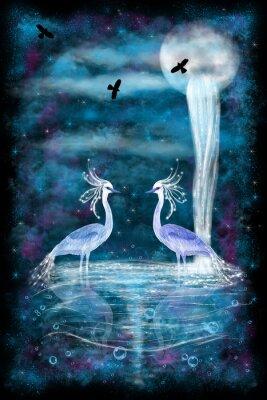 Poster Fantasy zwei Reiher