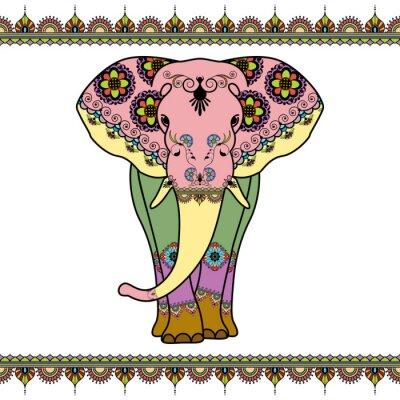 Poster Farbe Elefanten mit Grenzelemente in ethnischen mehndi Stil. Vector schwarz und weiß Illustration isoliert auf weißem Hintergrund