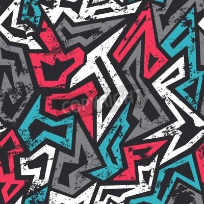 Poster farbige Graffiti nahtlose Muster mit Grunge-Effekt