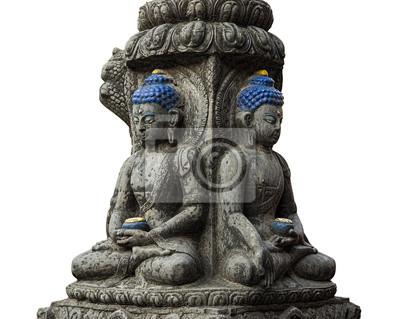 Farbige Stein-Buddha-Statue isoliert auf weiß