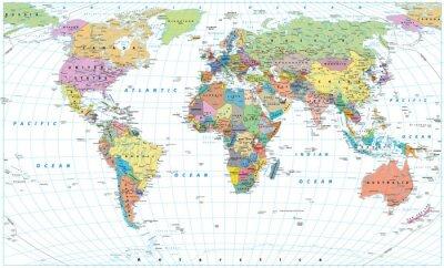 Poster Farbige Weltkarte - Grenzen, Länder, Straßen und Städte. Isoliert auf weiß