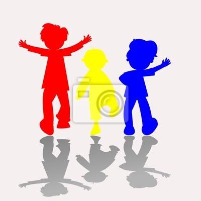 farbigen Kinder Silhouetten 2