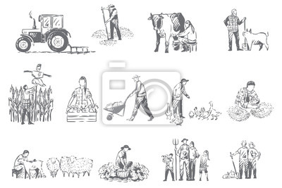 Poster Farming business, rural economy concept sketch