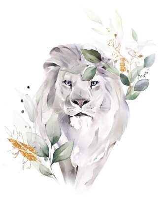 Poster fashion watercolor illustration. Drawing - lion with tree leaves. Botanic and animal print isolated on white background